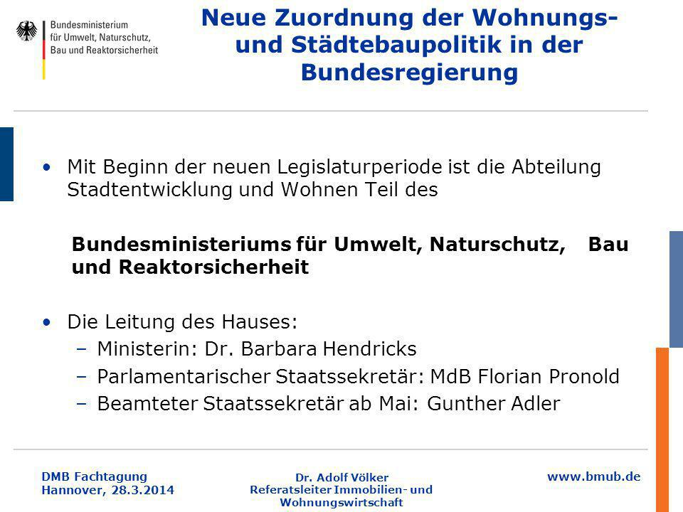 www.bmub.de DMB Fachtagung Hannover, 28.3.2014 Neue Zuordnung der Wohnungs- und Städtebaupolitik in der Bundesregierung Mit Beginn der neuen Legislatu