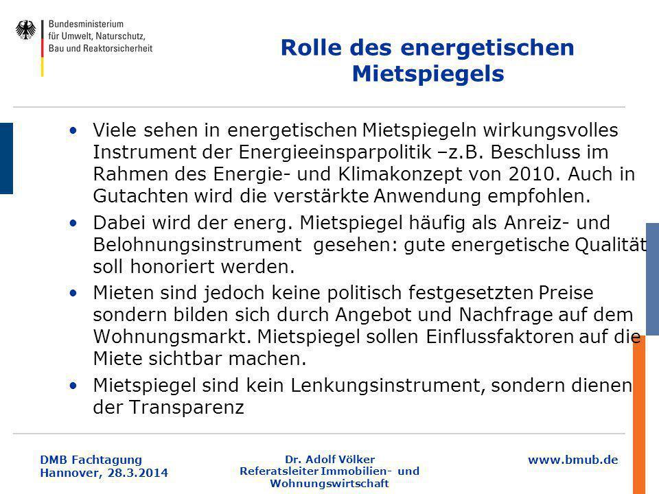 www.bmub.de DMB Fachtagung Hannover, 28.3.2014 Dr. Adolf Völker Referatsleiter Immobilien- und Wohnungswirtschaft Rolle des energetischen Mietspiegels
