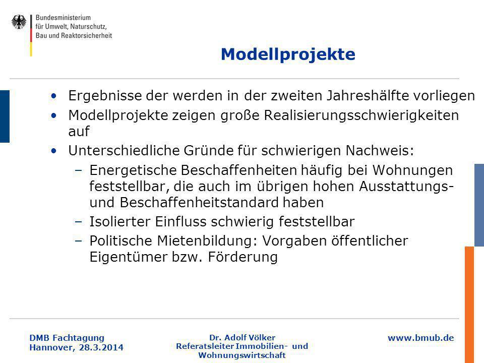 www.bmub.de DMB Fachtagung Hannover, 28.3.2014 Dr. Adolf Völker Referatsleiter Immobilien- und Wohnungswirtschaft Modellprojekte Ergebnisse der werden