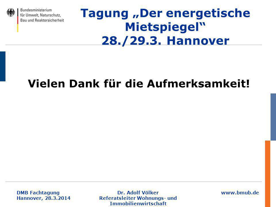 """www.bmub.de DMB Fachtagung Hannover, 28.3.2014 Tagung """"Der energetische Mietspiegel"""" 28./29.3. Hannover Vielen Dank für die Aufmerksamkeit! Dr. Adolf"""