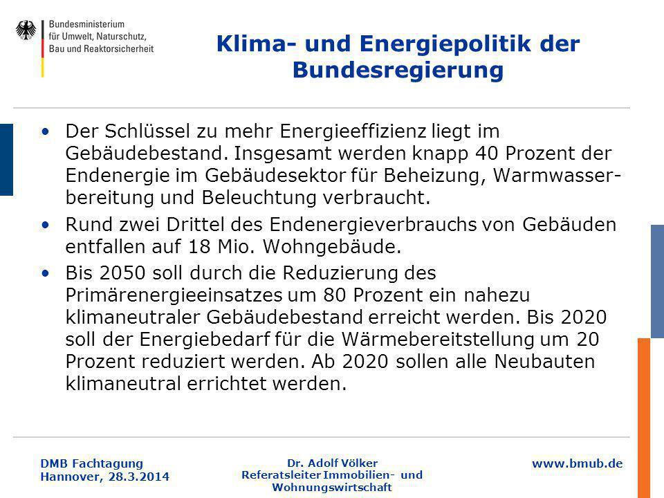 www.bmub.de DMB Fachtagung Hannover, 28.3.2014 Klima- und Energiepolitik der Bundesregierung Der Schlüssel zu mehr Energieeffizienz liegt im Gebäudebe