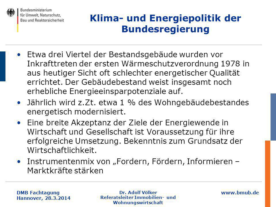www.bmub.de DMB Fachtagung Hannover, 28.3.2014 Klima- und Energiepolitik der Bundesregierung Etwa drei Viertel der Bestandsgebäude wurden vor Inkraftt