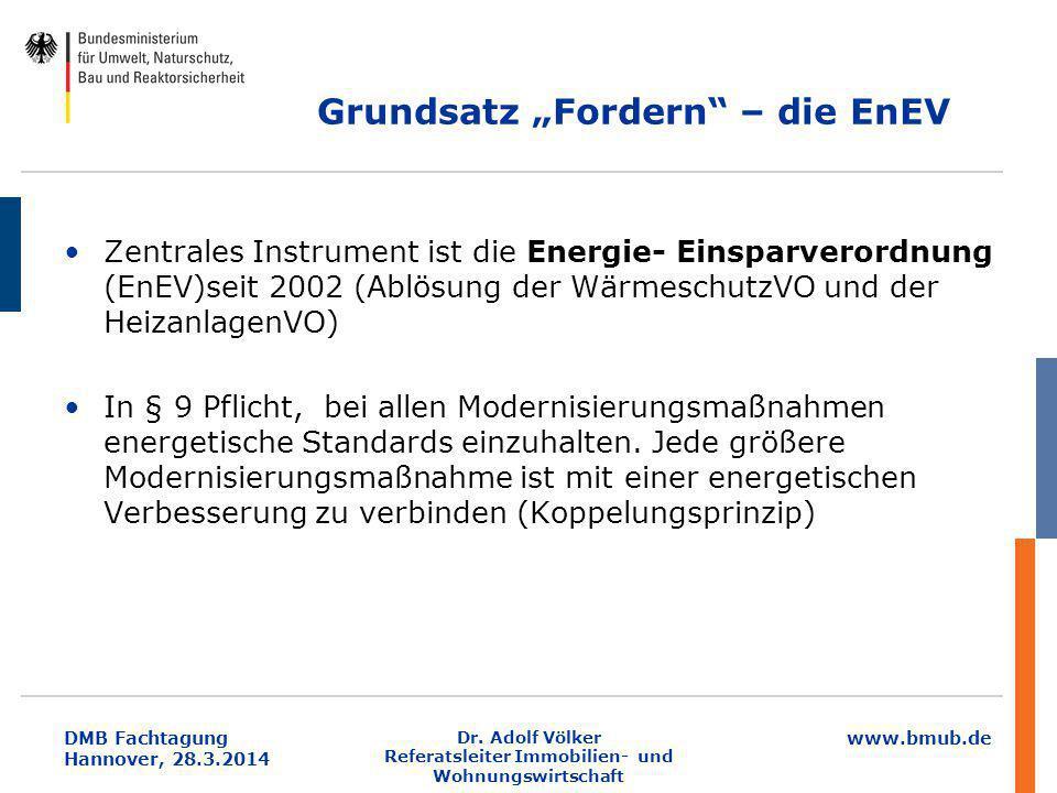 """www.bmub.de DMB Fachtagung Hannover, 28.3.2014 Grundsatz """"Fordern"""" – die EnEV Zentrales Instrument ist die Energie- Einsparverordnung (EnEV)seit 2002"""