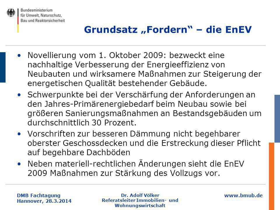 """www.bmub.de DMB Fachtagung Hannover, 28.3.2014 Grundsatz """"Fordern"""" – die EnEV Novellierung vom 1. Oktober 2009: bezweckt eine nachhaltige Verbesserung"""