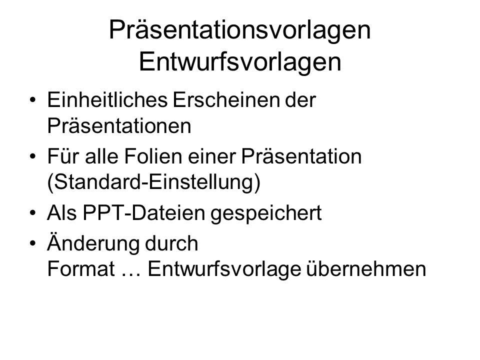 Präsentationsvorlagen Entwurfsvorlagen Einheitliches Erscheinen der Präsentationen Für alle Folien einer Präsentation (Standard-Einstellung) Als PPT-Dateien gespeichert Änderung durch Format … Entwurfsvorlage übernehmen