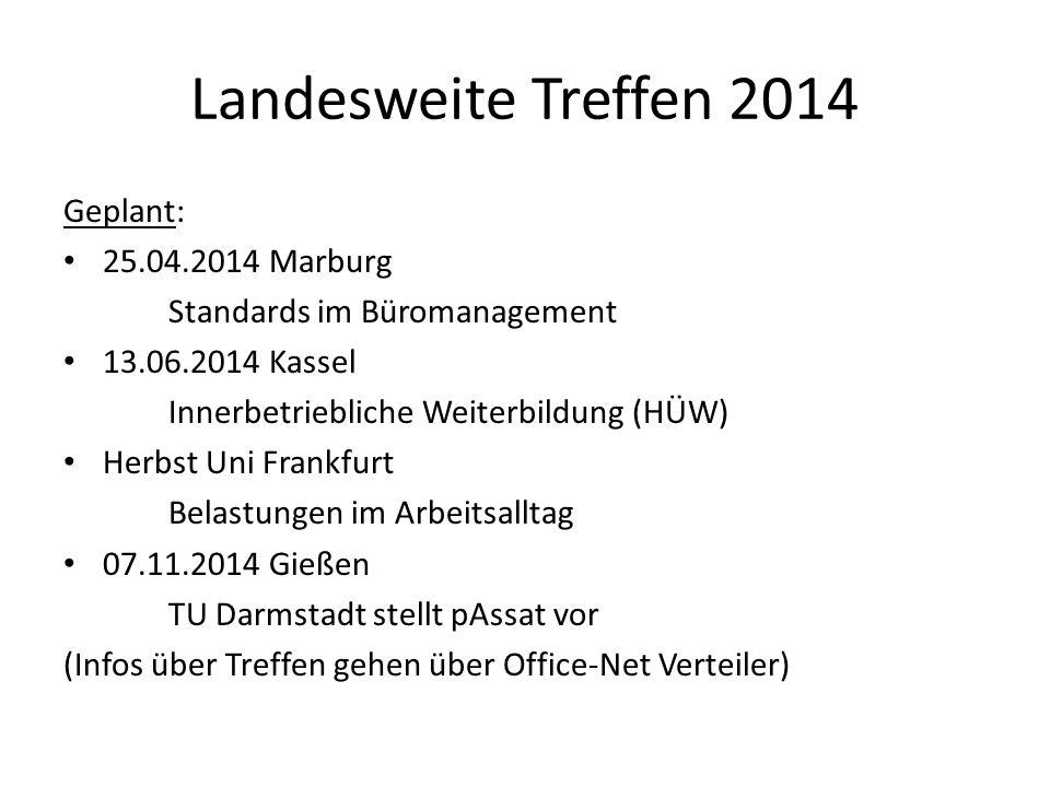 Landesweite Treffen 2014 Geplant: 25.04.2014 Marburg Standards im Büromanagement 13.06.2014 Kassel Innerbetriebliche Weiterbildung (HÜW) Herbst Uni Fr