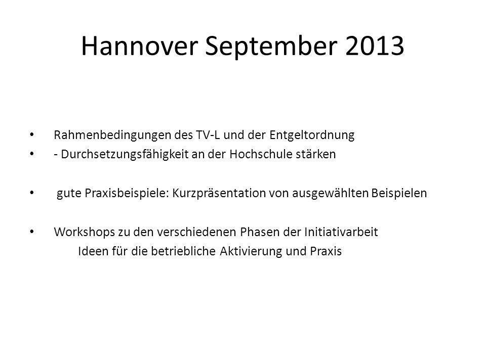 Hannover September 2013 Rahmenbedingungen des TV-L und der Entgeltordnung - Durchsetzungsfähigkeit an der Hochschule stärken gute Praxisbeispiele: Kur
