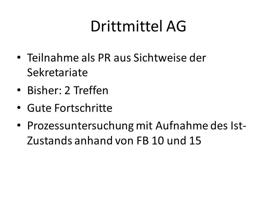 Drittmittel AG Teilnahme als PR aus Sichtweise der Sekretariate Bisher: 2 Treffen Gute Fortschritte Prozessuntersuchung mit Aufnahme des Ist- Zustands anhand von FB 10 und 15