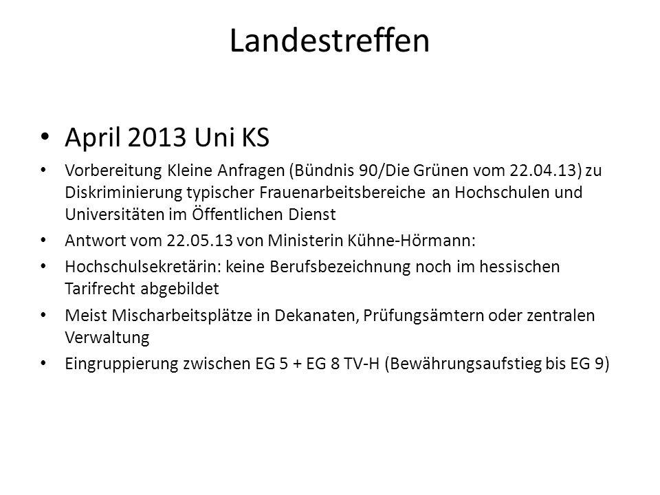 Landestreffen April 2013 Uni KS Vorbereitung Kleine Anfragen (Bündnis 90/Die Grünen vom 22.04.13) zu Diskriminierung typischer Frauenarbeitsbereiche a