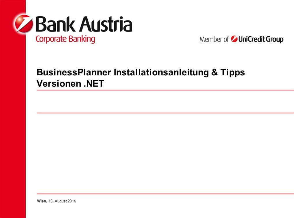 BusinessPlanner Installationsanleitung & Tipps Versionen.NET Wien, 19. August 2014