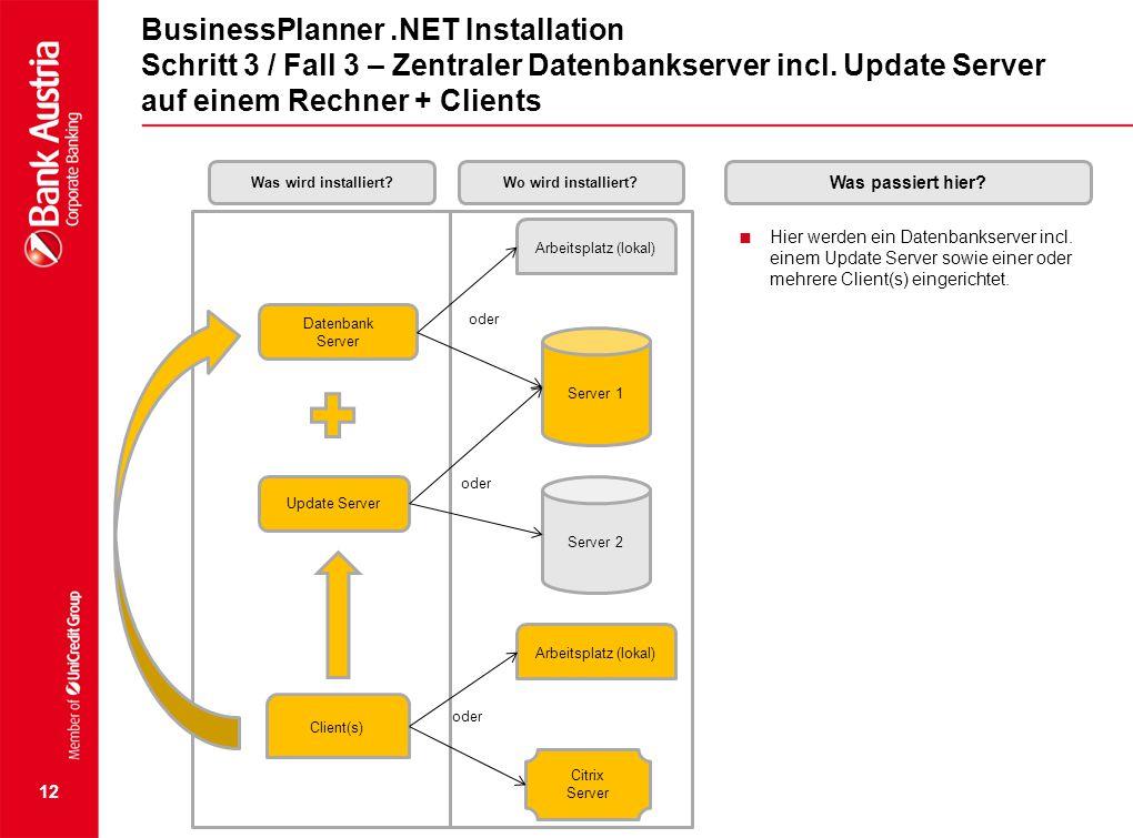 12 BusinessPlanner.NET Installation Schritt 3 / Fall 3 – Zentraler Datenbankserver incl. Update Server auf einem Rechner + Clients  Hier werden ein D