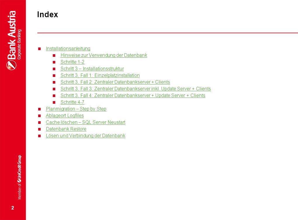 Index  Installationsanleitung Installationsanleitung  Hinweise zur Verwendung der Datenbank Hinweise zur Verwendung der Datenbank  Schritte 1-2 Sch