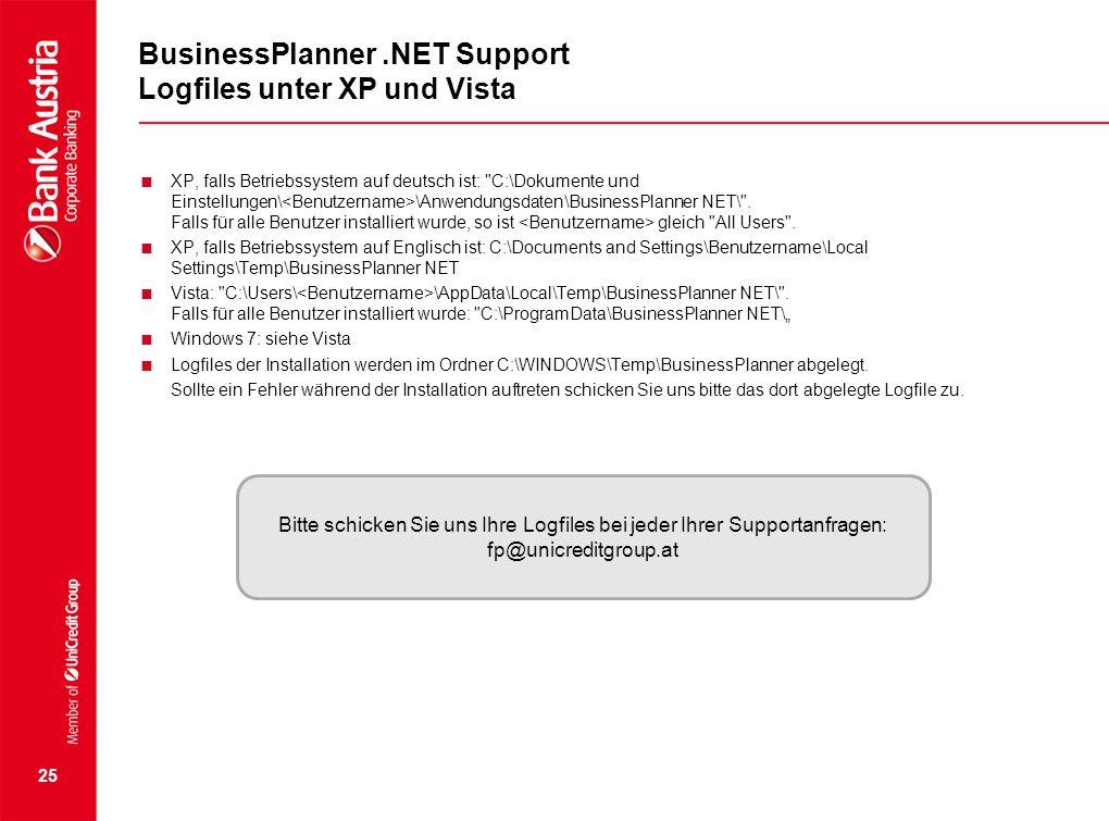 BusinessPlanner.NET Support Logfiles unter XP und Vista  XP, falls Betriebssystem auf deutsch ist: