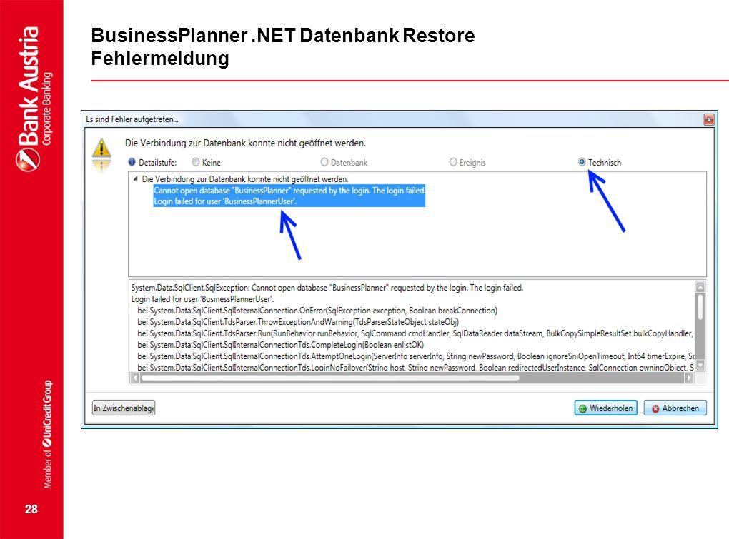 28 BusinessPlanner.NET Datenbank Restore Fehlermeldung