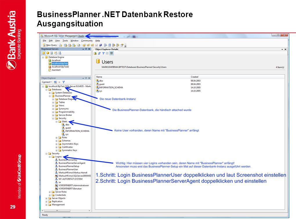 29 BusinessPlanner.NET Datenbank Restore Ausgangsituation