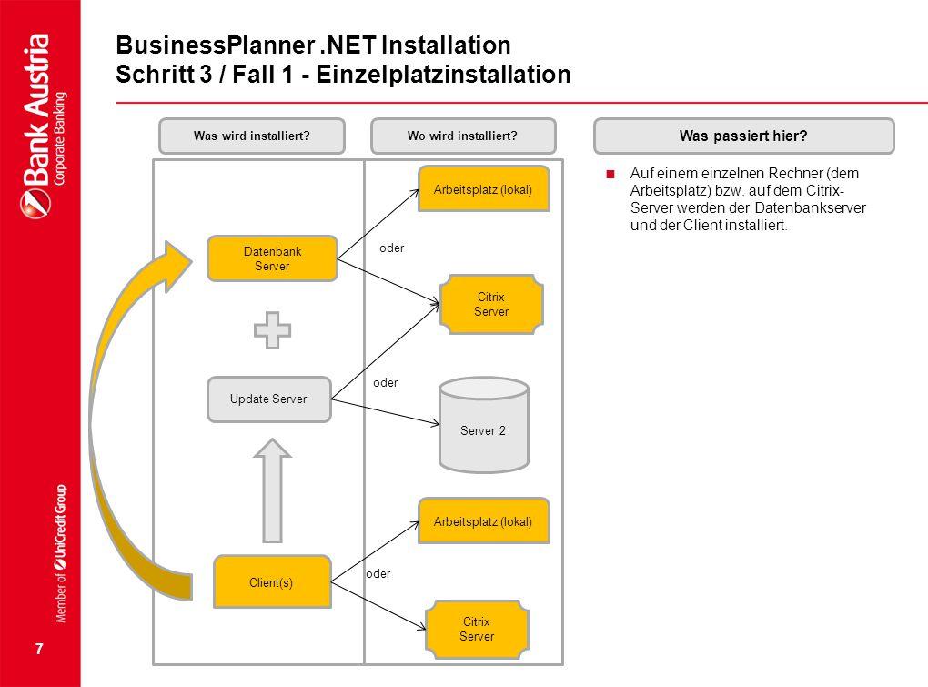 7 BusinessPlanner.NET Installation Schritt 3 / Fall 1 - Einzelplatzinstallation  Auf einem einzelnen Rechner (dem Arbeitsplatz) bzw. auf dem Citrix-