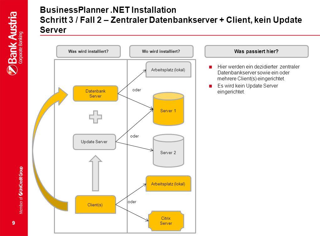 9 BusinessPlanner.NET Installation Schritt 3 / Fall 2 – Zentraler Datenbankserver + Client, kein Update Server  Hier werden ein dezidierter zentraler