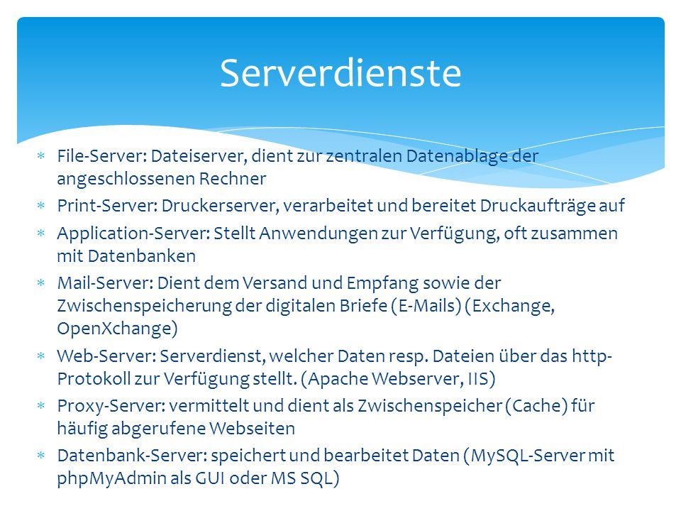  File-Server: Dateiserver, dient zur zentralen Datenablage der angeschlossenen Rechner  Print-Server: Druckerserver, verarbeitet und bereitet Drucka