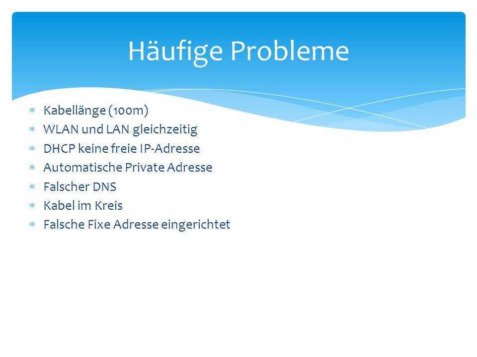  Kabellänge (100m)  WLAN und LAN gleichzeitig  DHCP keine freie IP-Adresse  Automatische Private Adresse  Falscher DNS  Kabel im Kreis  Falsche