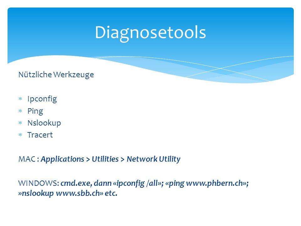 Nützliche Werkzeuge  Ipconfig  Ping  Nslookup  Tracert MAC : Applications > Utilities > Network Utility WINDOWS: cmd.exe, dann «ipconfig /all»; «p