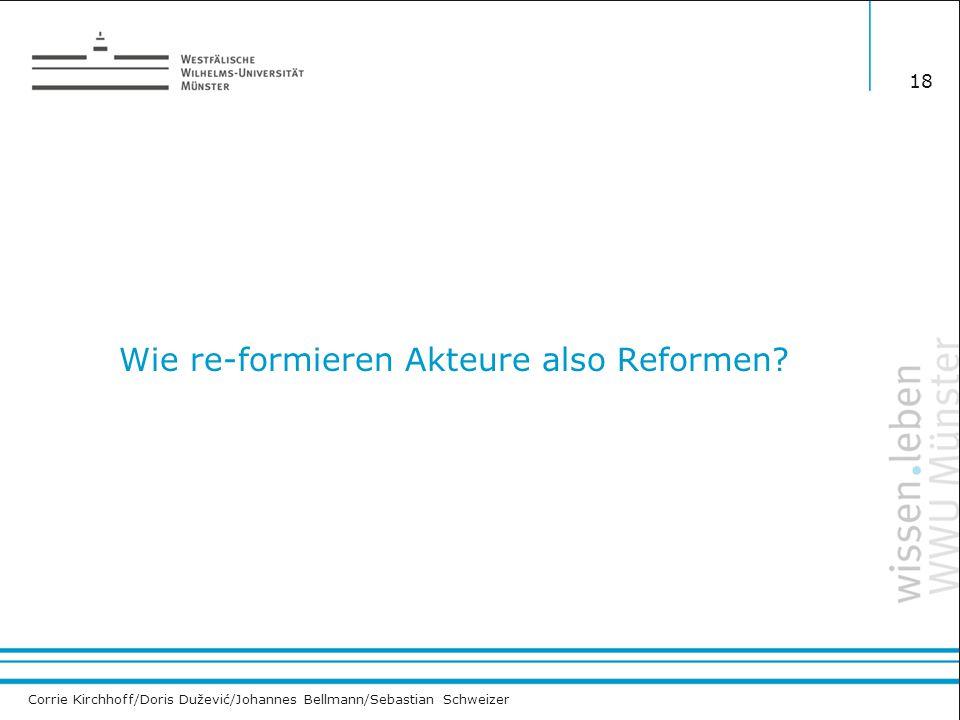 Corrie Kirchhoff/Doris Dužević/Johannes Bellmann/Sebastian Schweizer Wie re-formieren Akteure also Reformen? 18