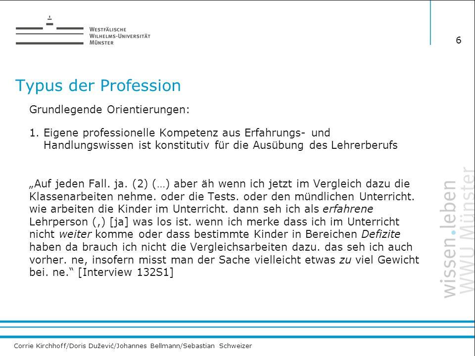 Corrie Kirchhoff/Doris Dužević/Johannes Bellmann/Sebastian Schweizer Typus der Profession Grundlegende Orientierungen: 1. Eigene professionelle Kompet