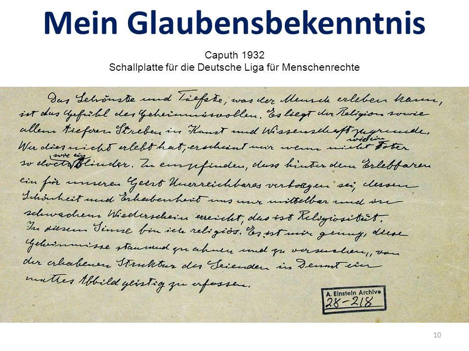 """Einsteins Glaube Aufsatz über """"Religion und Wissenschaft Berliner Tageblatt, 11.11."""