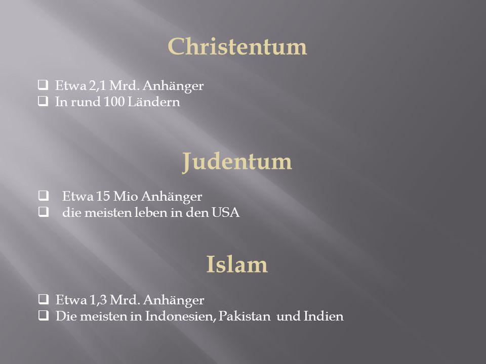Judentum  Etwa 15 Mio Anhänger  die meisten leben in den USA Islam  Etwa 1,3 Mrd. Anhänger  Die meisten in Indonesien, Pakistan und Indien Christe