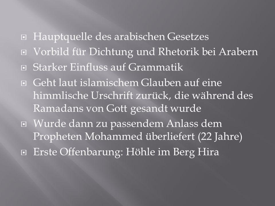  Hauptquelle des arabischen Gesetzes  Vorbild für Dichtung und Rhetorik bei Arabern  Starker Einfluss auf Grammatik  Geht laut islamischem Glauben