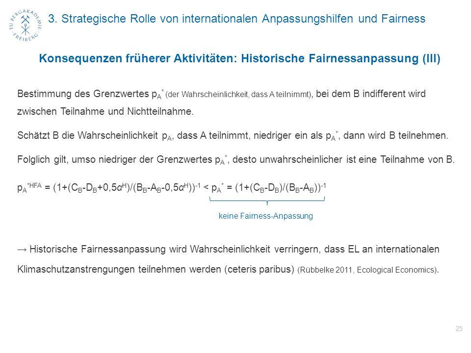 3. Strategische Rolle von internationalen Anpassungshilfen und Fairness 25 Konsequenzen früherer Aktivitäten: Historische Fairnessanpassung (III) Best