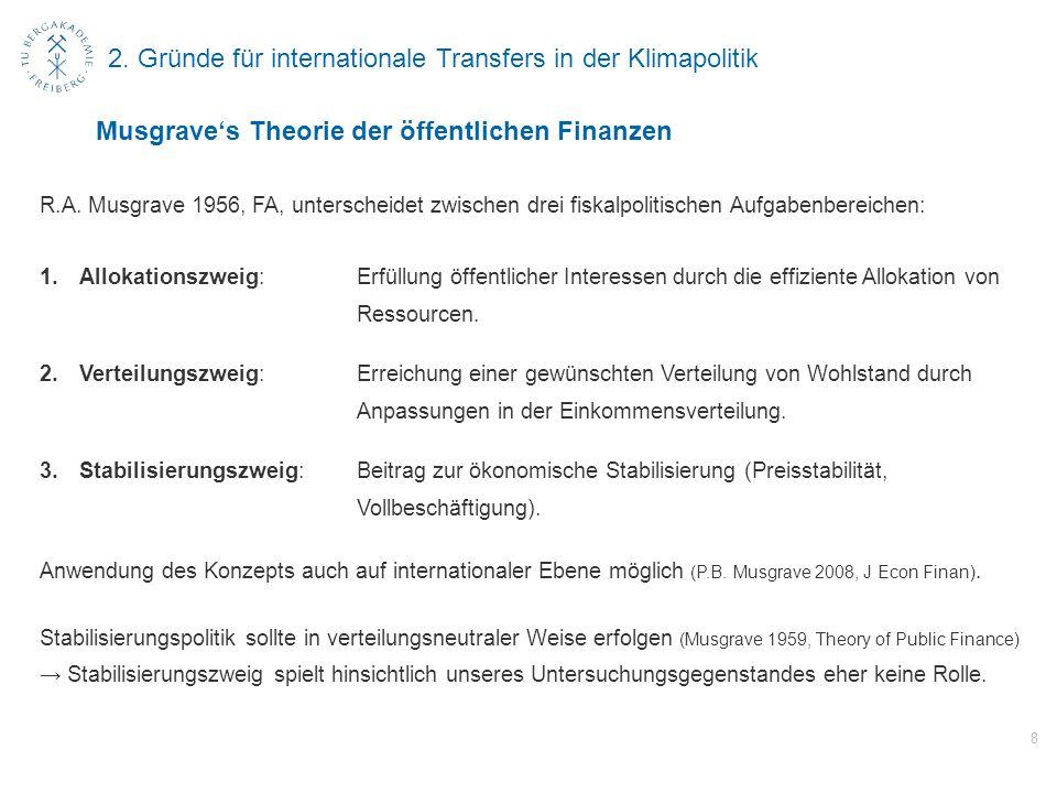 2. Gründe für internationale Transfers in der Klimapolitik R.A. Musgrave 1956, FA, unterscheidet zwischen drei fiskalpolitischen Aufgabenbereichen: 1.