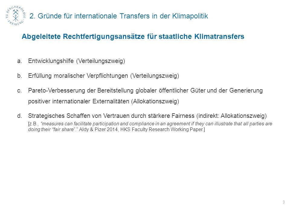2. Gründe für internationale Transfers in der Klimapolitik a.Entwicklungshilfe (Verteilungszweig) b.Erfüllung moralischer Verpflichtungen (Verteilungs