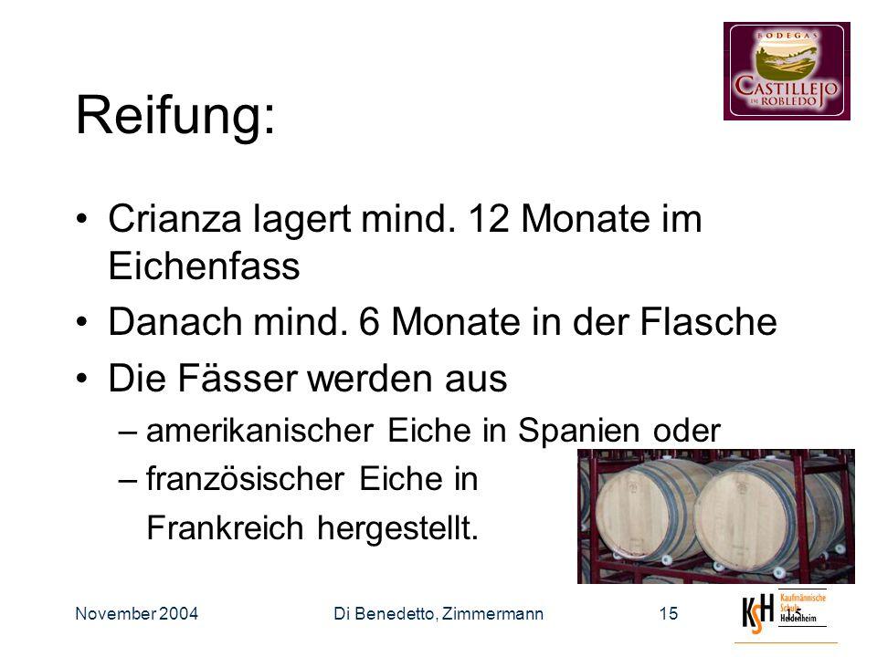 November 2004Di Benedetto, Zimmermann15 Reifung: Crianza lagert mind.