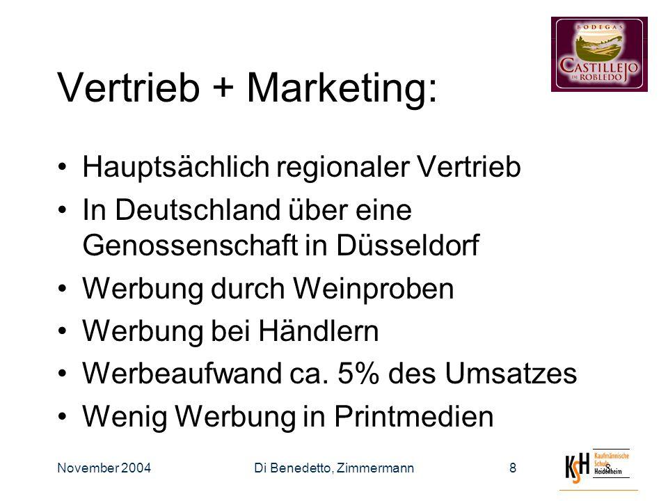 November 2004Di Benedetto, Zimmermann88 Vertrieb + Marketing: Hauptsächlich regionaler Vertrieb In Deutschland über eine Genossenschaft in Düsseldorf Werbung durch Weinproben Werbung bei Händlern Werbeaufwand ca.