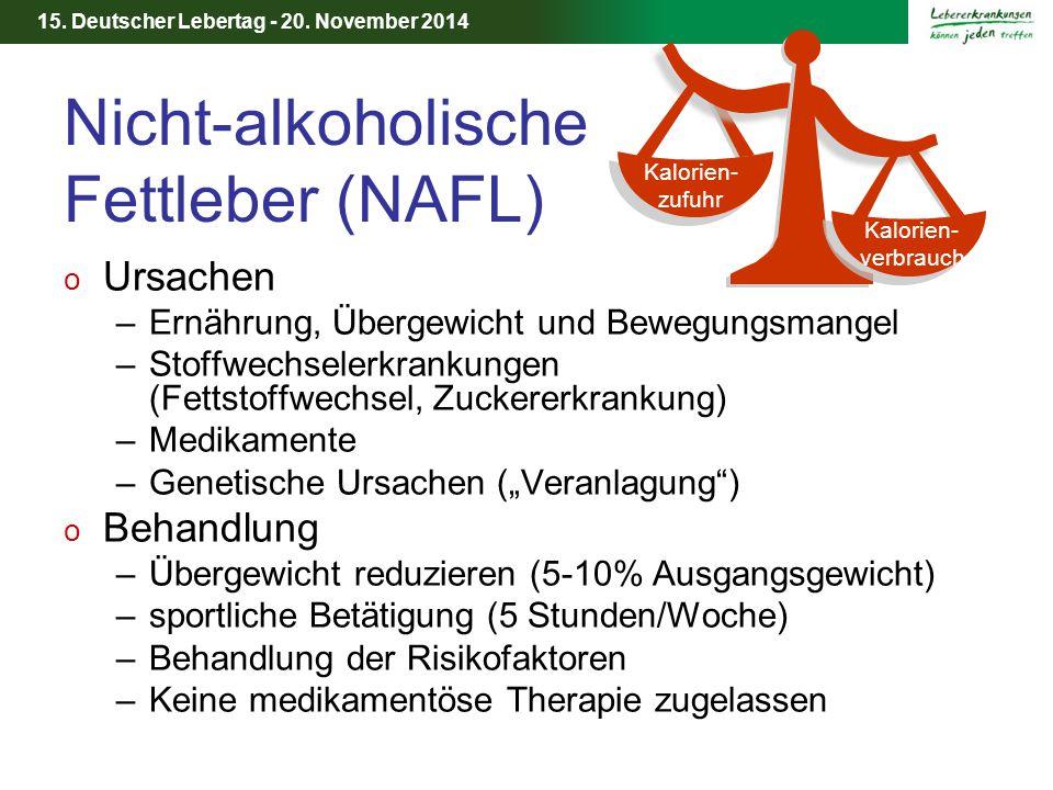 15. Deutscher Lebertag - 20. November 2014 Nicht-alkoholische Fettleber (NAFL) o Ursachen –Ernährung, Übergewicht und Bewegungsmangel –Stoffwechselerk