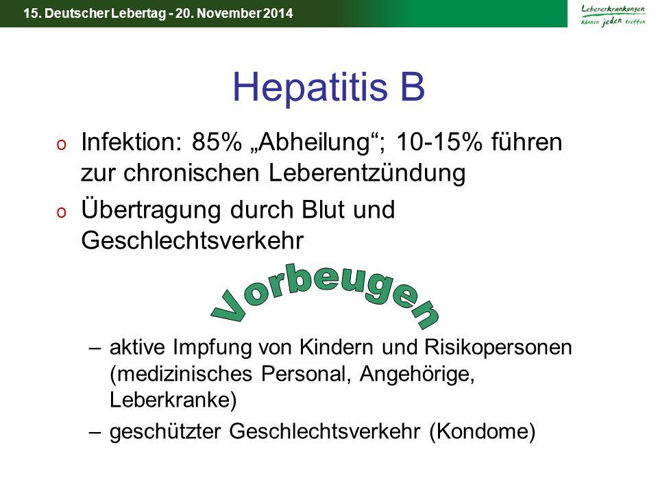 """15. Deutscher Lebertag - 20. November 2014 Hepatitis B o Infektion: 85% """"Abheilung""""; 10-15% führen zur chronischen Leberentzündung o Übertragung durch"""