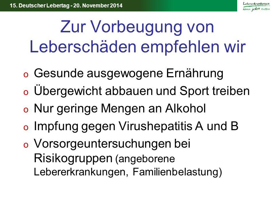 15. Deutscher Lebertag - 20. November 2014 Zur Vorbeugung von Leberschäden empfehlen wir o Gesunde ausgewogene Ernährung o Übergewicht abbauen und Spo