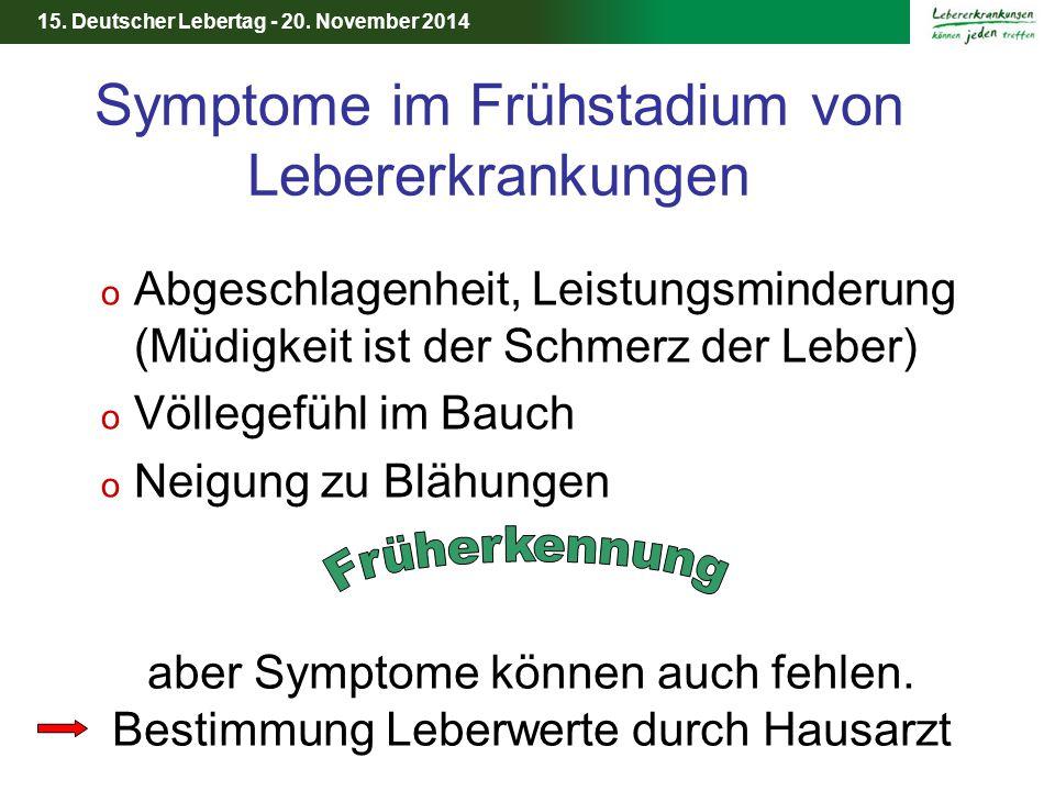 15. Deutscher Lebertag - 20. November 2014 Symptome im Frühstadium von Lebererkrankungen o Abgeschlagenheit, Leistungsminderung (Müdigkeit ist der Sch