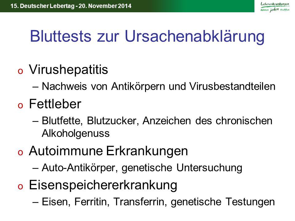 15. Deutscher Lebertag - 20. November 2014 Bluttests zur Ursachenabklärung o Virushepatitis –Nachweis von Antikörpern und Virusbestandteilen o Fettleb