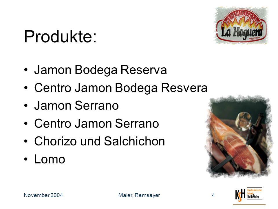 November 2004Maier, Ramsayer44 Produkte: Jamon Bodega Reserva Centro Jamon Bodega Resvera Jamon Serrano Centro Jamon Serrano Chorizo und Salchichon Lomo