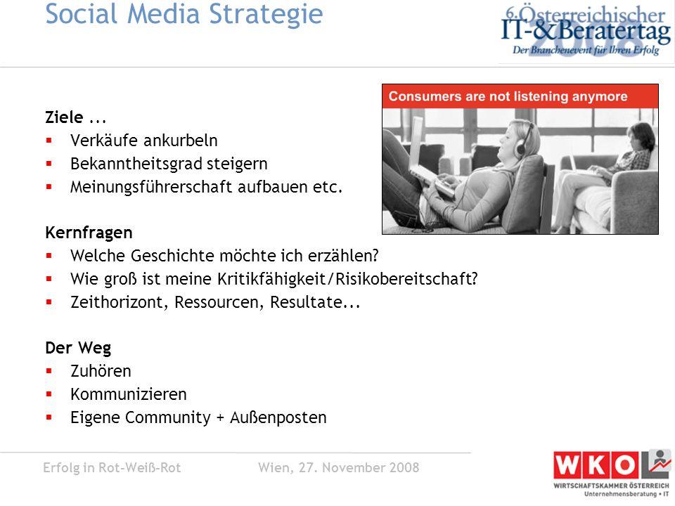 Erfolg in Rot-Weiß-Rot Wien, 27. November 2008 Social Media Strategie Ziele...