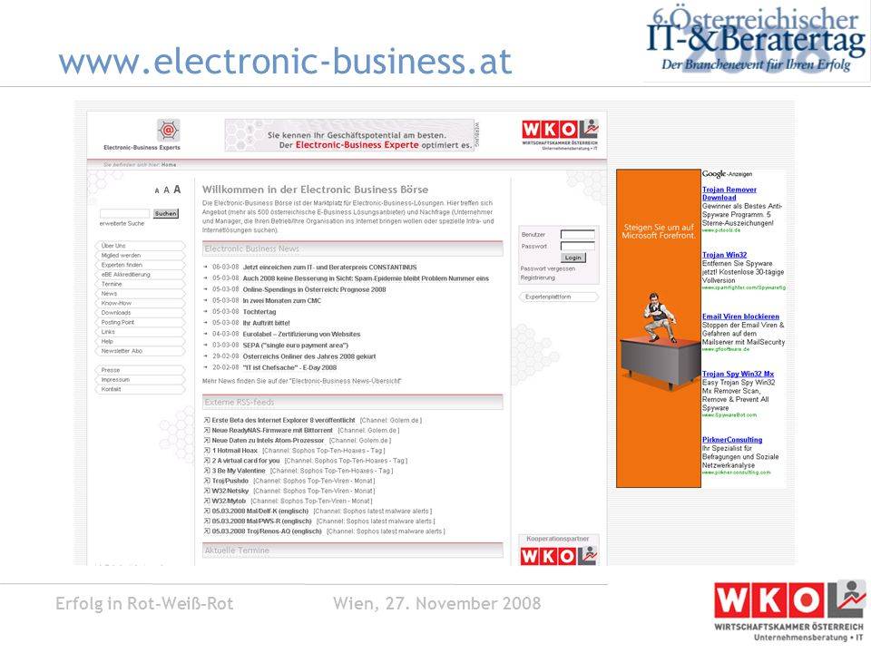 Erfolg in Rot-Weiß-Rot Wien, 27. November 2008 bwin Akivierungs-E-Mail