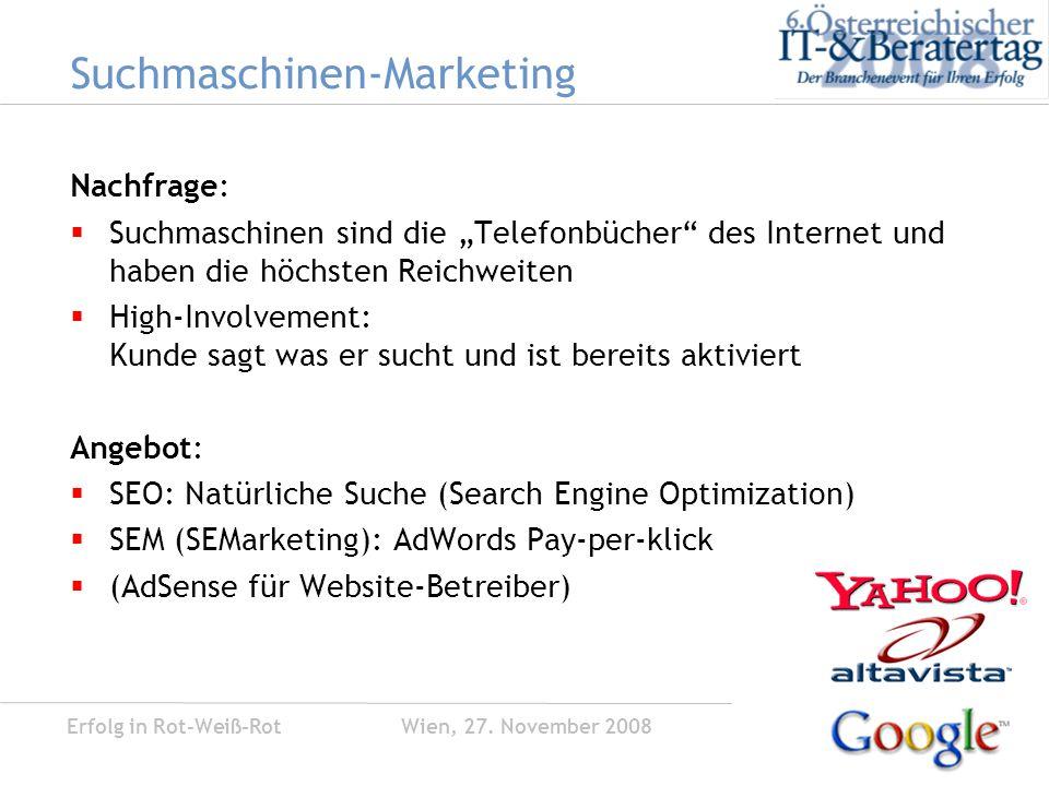 Erfolg in Rot-Weiß-Rot Wien, 27.November 2008 Social Media Strategie Ziele...