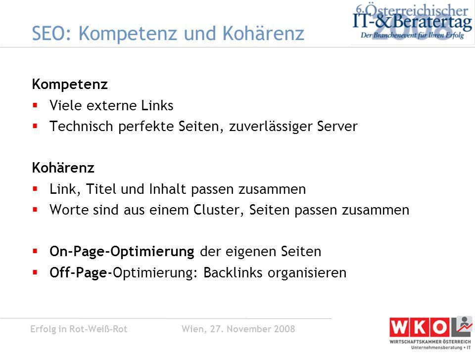 Erfolg in Rot-Weiß-Rot Wien, 27.November 2008 Google SEM Beispiel Premiere Deutschland  Abt.