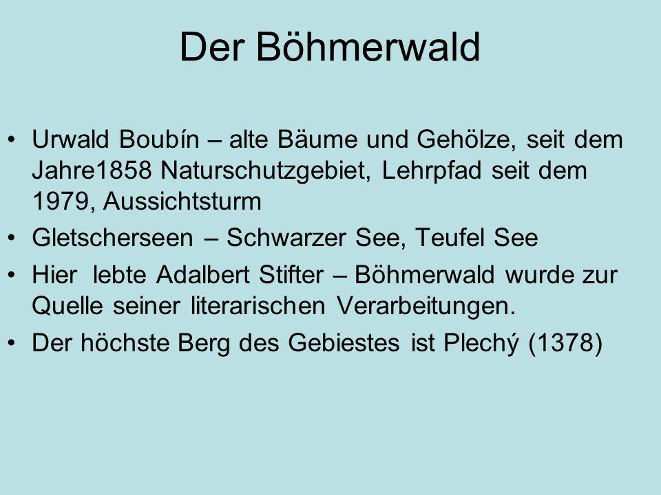 Der Böhmerwald Urwald Boubín – alte Bäume und Gehölze, seit dem Jahre1858 Naturschutzgebiet, Lehrpfad seit dem 1979, Aussichtsturm Gletscherseen – Schwarzer See, Teufel See Hier lebte Adalbert Stifter – Böhmerwald wurde zur Quelle seiner literarischen Verarbeitungen.