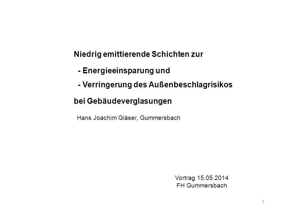 Niedrig emittierende Schichten zur - Energieeinsparung und - Verringerung des Außenbeschlagrisikos bei Gebäudeverglasungen Hans Joachim Gläser, Gummer
