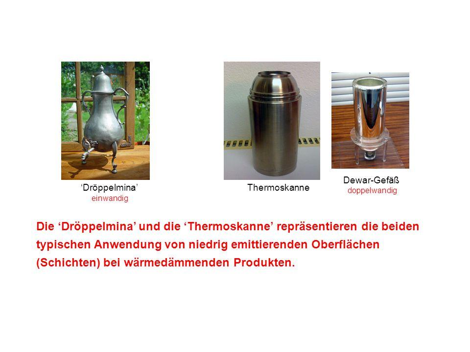 'Dröppelmina'Thermoskanne Dewar-Gefäß doppelwandig einwandig Die 'Dröppelmina' und die 'Thermoskanne' repräsentieren die beiden typischen Anwendung vo
