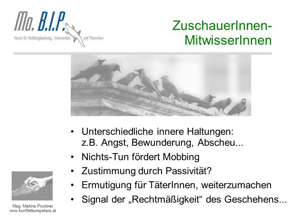 Mag. Martina Pruckner www.konfliktkompetenz.at ZuschauerInnen- MitwisserInnen Unterschiedliche innere Haltungen: z.B. Angst, Bewunderung, Abscheu... N