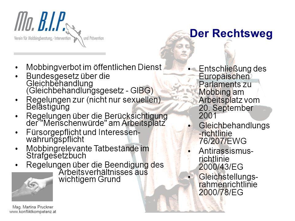 Mag. Martina Pruckner www.konfliktkompetenz.at Der Rechtsweg Mobbingverbot im öffentlichen Dienst Bundesgesetz über die Gleichbehandlung (Gleichbehand