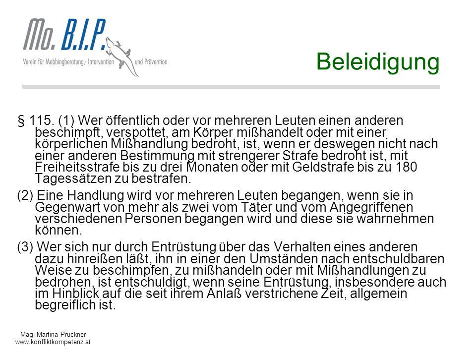Mag.Martina Pruckner www.konfliktkompetenz.at Beleidigung § 115.